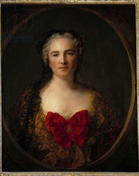 Portrait of the Marquise Louise Elisabeth De Dreux Breze She wears a dress adorned with red knot - Painting by Jean Marc (Jean-Marc) Nattier (1685-1766) 1749 Dim 0,73x0,59 m Douai musee de la Chartreuse