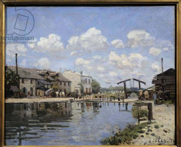 The Canal Saint Martin in Paris in 1872 View of the lock. Painting by Alfred Sisley (1839-1899) 1872 Dim. 0,38 x 0,46 m Paris, musee d'Orsay - View of St Martin Canal in 1872. View of the sluice. Painting by Alfred Sisley (1839-1899) 1872 Sun 0.38 x 0.46 m Paris, musee d'Orsay
