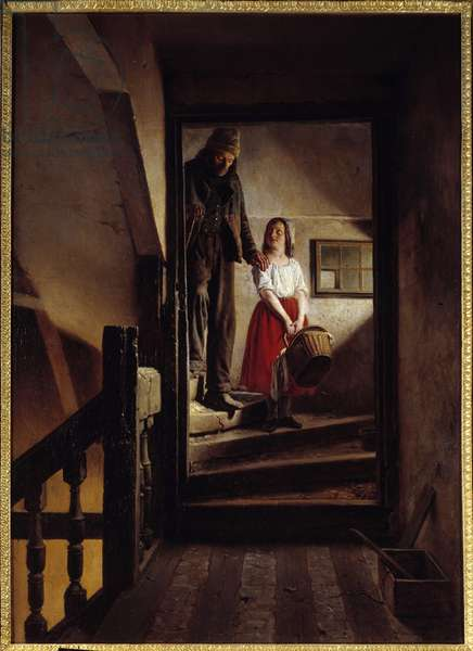 The old age stick A little girl helping an old man down a staircase. Painting by Jean Alphonse Roehn (1799-1864) 1852 Rouen, Musee des Beaux Arts