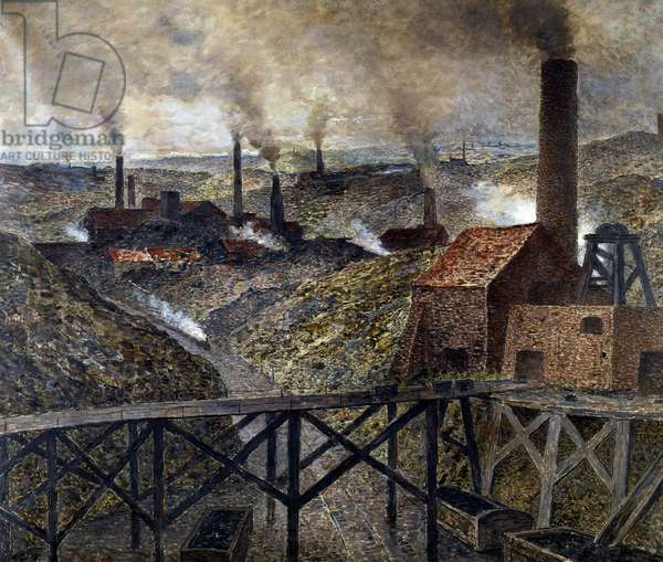 In the Black Country Industrial Landscape of factories and chimneys. Painting by Constantin Meunier (1831-1905), 1890. Dim. 0,81x0,94 m. Paris. Orsay Museum