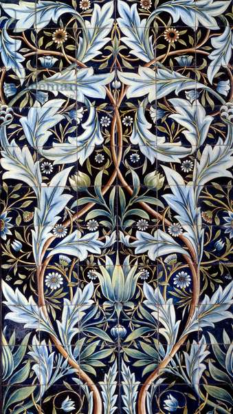 Wall covering panel (66 tiles) made by William Morris (1834-1896) and William Frend de Morgan (1839-1917) in faience. From Membland Hall for Edward Charles Baring. Chelsea, England. 1876-1877 Sun. 1x635 m Paris, musee d'Orsay