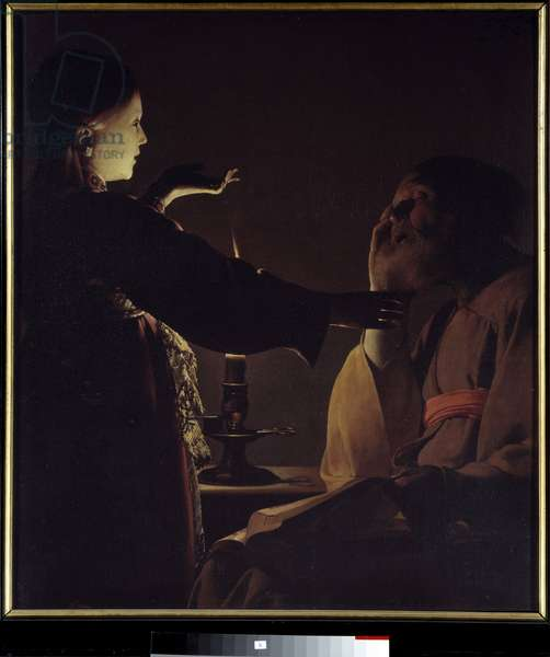 Appearance of the Angel to Saint Joseph (also known as The Dream of Saint Joseph). Painting by Georges de La Tour (1593-1652), 17th century. Oil on canvas. Dim: 0.93 X 0.81m. Nantes, Museum of Fine Arts.