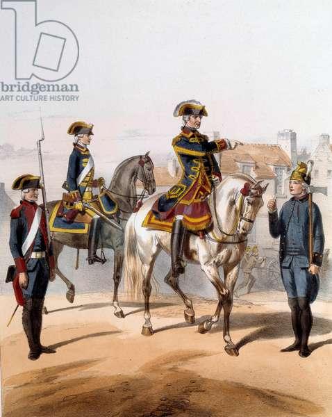 Guards of the City of Paris (walking watch, horse watch, watchman, pump guard). Engraving of the 19th century. Paris, Musee de la Prefecture