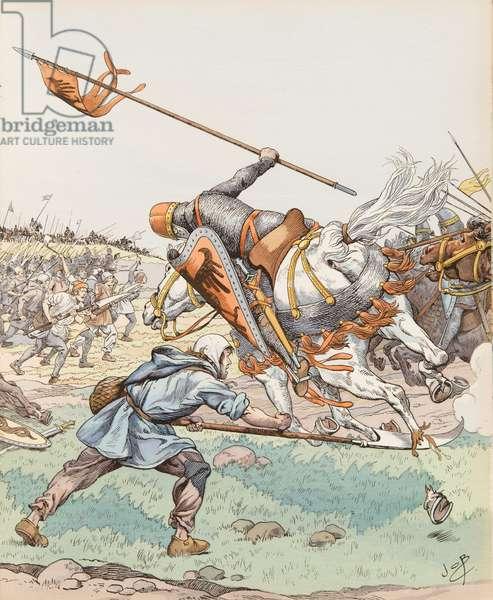 Jacques Marie Gaston Onfroy de Breville dit JOB (1858-1931) - Le reaper de Bouvines (peasant participating in the Battle of Bouvines in 1214), Collection privee