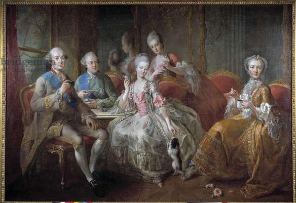 "The Family of the Duke of Penthievre in 1768 or ""La Tasse de Chocolat"": reunited portraits of the Duke of Penthievre (1725-1793), of his son the Prince of Lamballe (1747-1768), of the Princess of Lamballe (1749-1792), of his daughter Mademoiselle de Penthievre (future Duchess of Orleans, 1753-1821). Painting by Jean-Baptiste Charpentier le Vieux (1728-1806). 1768 Sun. 1,76 x 2,56 m Versailles, castle of Versailles. - The Duke of Penthievre's Family in 1768 or The Cup of Chocolate. Portraits of the Duke of Penthievre (1725-1793), his son the Prince of Lamballe (1747-1768), Princess of Lamballe (1749-1792), his daughter Mademoiselle de Penthievre (1753-1821). Painting by Jean-Baptiste Charpentier the Elder (1728-1806). 1768. 1.76 x 2.56 m."