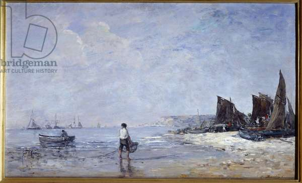 The fisherman Painting by Eugene Louis Boudin (1824-1898) 19th century Sun. 0,35x0,57 m Rouen, Musee des Beaux Arts