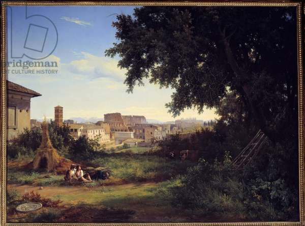 Rome, view of the Colisee (Colosseo) Painting by Raymond Bracassat (1804-1867) 1827 Sun. 0,74x0,99 m Rouen, Museum of Fine Arts