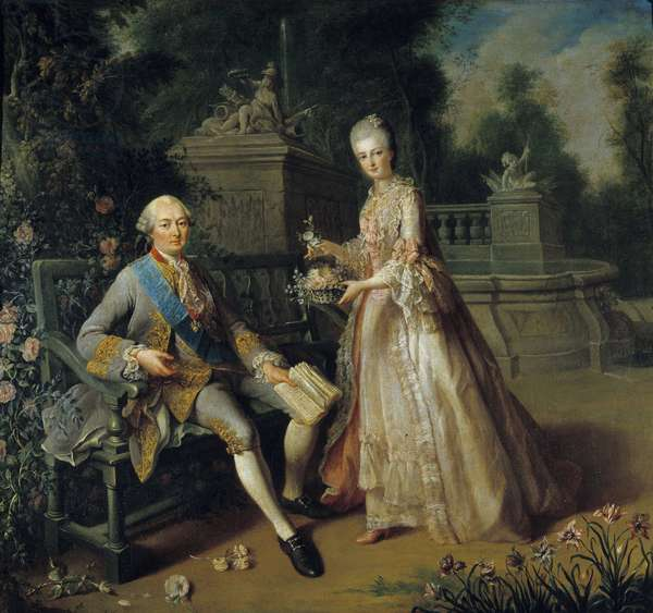 Louis Jean Marie de Bourbon, Duke of Penthievre (1725-1793) and his daughter Louise Adelaide (1753-1821) who became Duchess of Orleans and the wife of Louis Philippe II of Orleans dit Philippe Egalite (1747-1793) Painting by Jean Baptiste Charpentier (1728-1806) 18th century Sun. 0,97x1,05 m