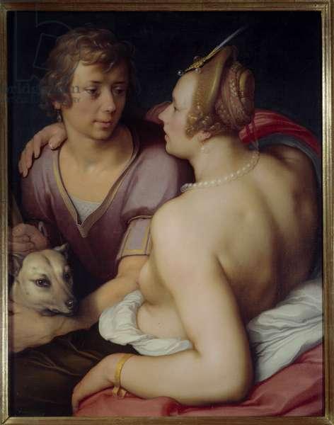 Venus and Adonis Painting by Cornelis Van Haarlem (1562-1638) 17th century Sun. 0,95x0,74 m Caen, Museum of Fine Arts
