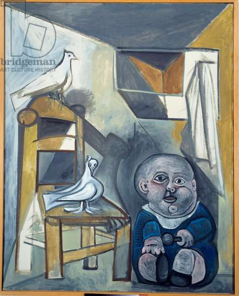 The child with doves. oil on canvas. dim: 1,62 x 1,30m. Painting by Pablo Picasso (1881-1973), 1941. Paris, Musee Picasso