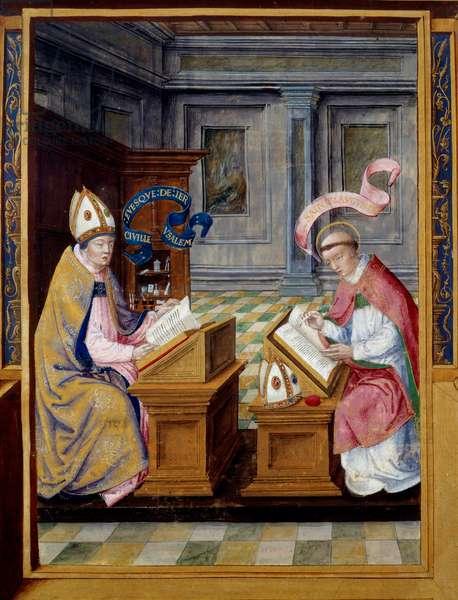 The Eveque of Jerusalem Saint Cyril (315-386) and Saint Augustine (354-430) Miniature on 16th century parchment. Ecouen, National Renaissance Museum