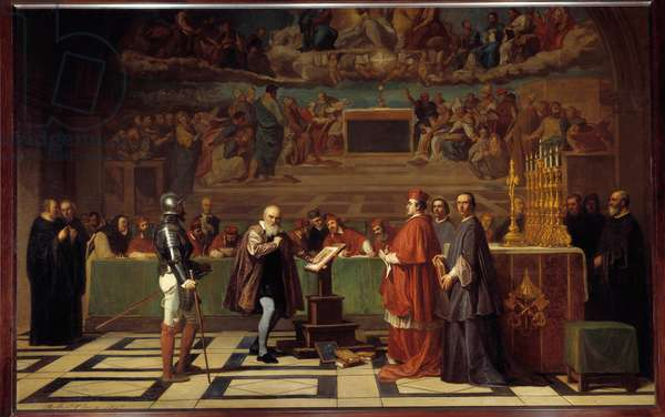 """Galilee (or Galileo Galilei (1564-1642) before the Holy Office in the Vatican"""""""" The astronomer was sentenced by the Inquisition Tribunal in 1632 for defending Copernicus's theories. Painting by Joseph Nicolas Robert-Fleury (Robert Fleury) (1797-1890) 1847 Sun. 1,96x3,08 m  - Galileo Galilei (1564-1642) before the Holy Office in the Vatican. The astronomer was condemned by the Tribunal of the Inquisition for having defended the theories of Copernicus, 1632. Painting by Joseph Nicolas Robert-Fleury (Robert Fleury) (1797-1890), 1847. 1.96 x 3.08 m. Louvre Museum, Paris"""