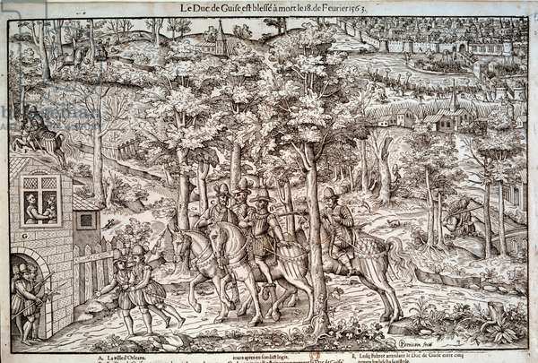 """Wars of religion 1562-1598 """""""" Assassination of Francois I of Lorraine (1519-1563) Second Duke of Guise on 18/02/1563. A Catholic leader, he was killed by the Calvinist Jean de Poltrot de Mere or Merey. Engraving of the 16th century. Paris, B.N."""