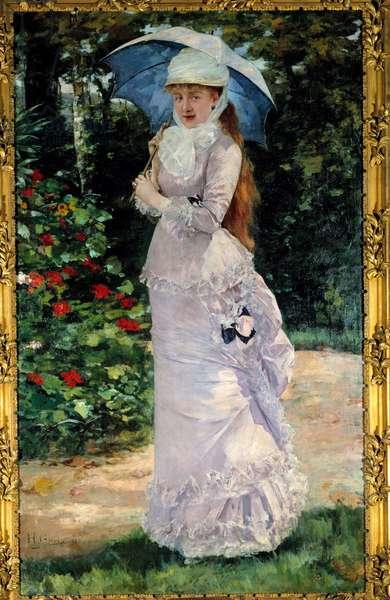 Portrait of Madame Valtesse de la Bigne (1861-1910), courtesan who served as a model for Nana. Painting by Henri Gervex (1852-1929), 1889. Oil on canvas. Dim: 2,00 x 1,22m. Paris, Musee d'Orsay - Portrait of Madame Valtesse de la Bigne (Lucie Emilie Delabigne, 1848-1910), courtesan, principal model for Zola's Nana. Painting by Henri Gervex (1852-1929), 1889. Oil on canvas. 2.00 x 1.22 m. Orsay Museum, Paris, France