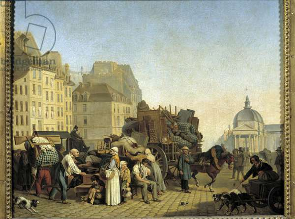 Parisian replacements during a change of accommodation load a cart with business and furniture in a street in Paris. Painting by Louis Leopold Boilly (1761-1845). 1840 Paris, Musee Cognacq Jay