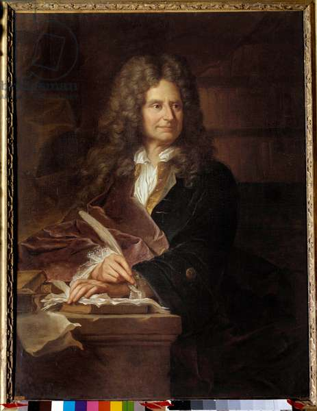 Portrait of Nicolas Boileau (1636 - 1711) dit Boileau Despreaux (Boileau-Despreaux), french writer - Painting from the workshop of Hyacinthe Rigaud (1659-1743), 17th century - Oil on canvas - Sun: 1,16 x 0,87m -