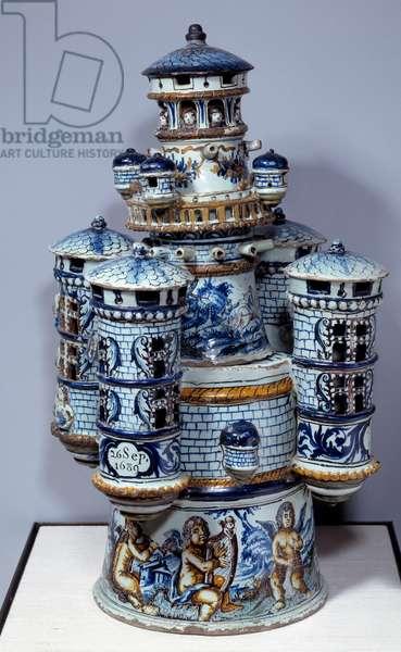 Art France: model of castle fort. Faience de Nevers, 1689. Sevres, Porcelain Manufacture
