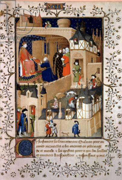 """The political adventurer Peter the Fruitier dit Salmon offers his manuscript to King Charles VI (1368-1422). Miniature from """"Answers a Charles VI et Lamentations"""" by Pierre Salmon enluminated by the workshop of the Maitre de Boucicaut (15th century) 1409 Paris, B.N."""