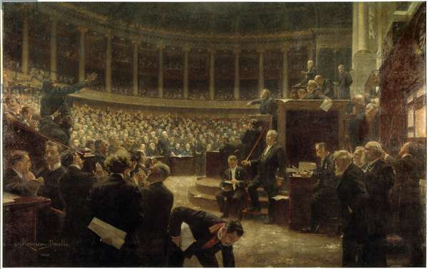 Seance at the Chamber of Deputes on July 18, 1907: Georges Clemenceau answered Jean Jaures at the Grandstand Painting by Rene Achille Rousseau Decelle (1881-1964), 1907. Versailles, castle museum