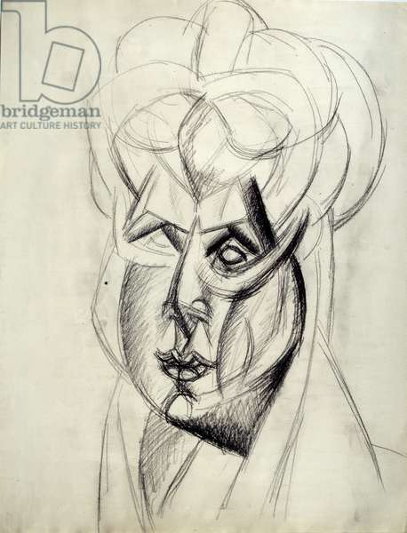 "Study for """" Head of Woman"""" (Fernande). Drawing by Pablo Picasso (1881-1973), 1909. Black pencil. Dim: 0,62x0,48m. Paris, Musee Picasso."