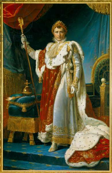 Portrait in foot of Napoleon I in sacred costume (1769-1821) Emperor of the French Painting by Francois Gerard (1770-1837). 1805. Dim. 2.23 x 1.43 m. Versailles, musee du Chateau - Full-length portrait of Napoleon I in Coronation robes (1769-1821) Emperor of the French. Painting by Francois Gerard (1770-1837). 1805. 2.23 x 1.43 m.
