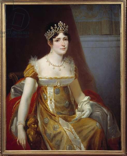 Portrait of Impress Josephine de Beauharnais (1763-1814) Painting by Victor Viger du Vigneau, dit Hector Viger (1819-1879) 1863 Sun. 1,15x0,89 m Malmaison, musee du chateau - Portrait of Empress Josephine de Beauharnais (1763-1814). Painting by Victor Vigneau, called Hector Viger (1819-1879), 1863. 1.15 x 0.89 m. Castle Museum of Malmaison, Rueil-Malmaison, France