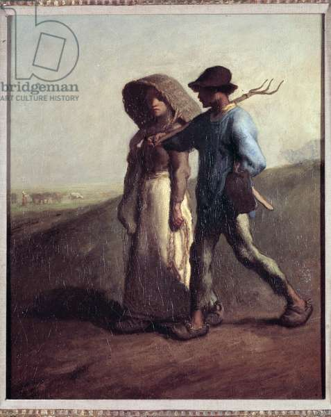Departing for work A couple of peasants leaving to the fields - Painting by Jean Francois Millet (1814-1875) 1851-1853 Sun: 0,56x0,47 m Cincinnati, art museum