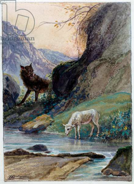 """Illustration of the fable """"The wolf and the lamb"""" by Jean de La Fontaine. Watercolour by Auguste Delierre (1829-c.1890), 19th century. Chateau Thierry, Musee La Fontaine"""