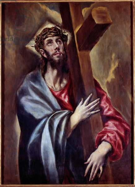 Christ bearing the cross Painting by Domenikos Theotokopoulos dit El Greco (1541-1614) 1605 Sun. 1,08x0,78 m Madrid, Prado Museum - Christ carrying the cross. Painting by Domenikos Theotokopoulos known as El Greco (1541-1614) 1605. 1.08 x 0.78 m. Prado Museum, Madrid. Painting by Domenikos Theotokopoulos known as El Greco (1541-1614) 1605. 1.08 x 0.78 m. Prado Museum, Madrid