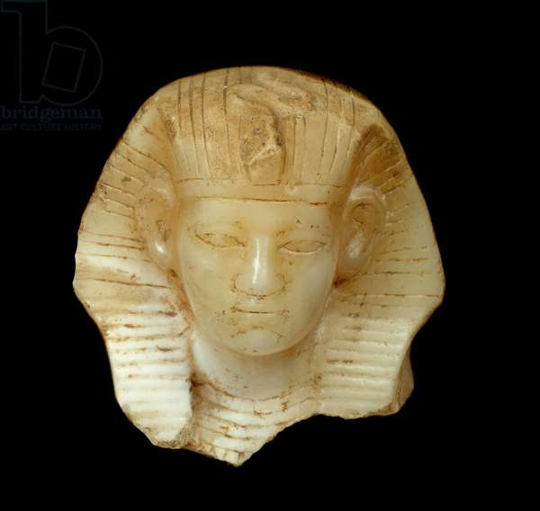 Ancient Egypt Art: Head of King Amenemhat III. Limestone sculpture (1843 - 1798 BC) 12th Dynasty, Middle Empire. Paris, Musee Du Louvre.