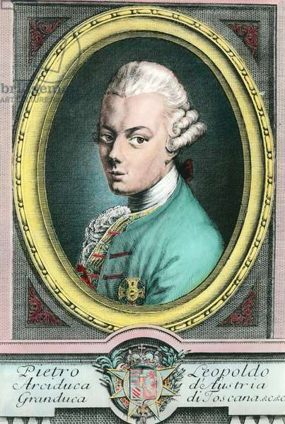 Portrait of Leopold II of Austria, Grand Duke of Tuscany (1747-1792). Engraving of the 18th century Private Collection