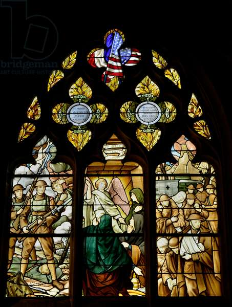 Vitrail a la memoire des morts du 310eme regiment d'infanterie de la 78eme division americaine qui tomberent en France durant la premiere guerre mondiale (Stained window in remembrance of the US soldiers from the 310th Infantry Regiment 78th Infantry Division who fought and died in France during WWI) - Chapelle Saint Lazare (Saint-Lazare) de l'Eglise Collegiale Notre-Dame de Semur-en-Auxois (Notre Dame de Semur en Auxois), Bourgogne