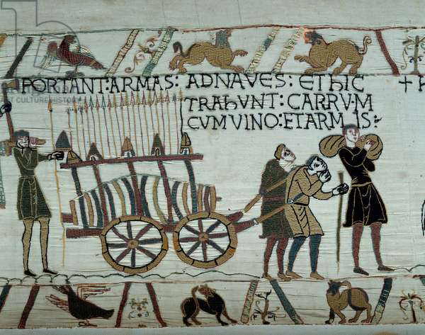 Weapons and wine are brought to the ships during the refuelling for the conquete of England by the fleets of William the Conquerant (1027-1087) in 1066 Detail of the tapestry of Bayeux or Embroidery of Queen Mathilde, 1077 (70,34x050 m). Library of Bayeux. Bayeux, Calvados