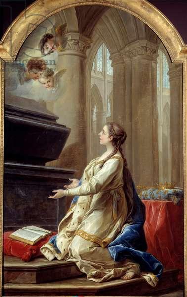 Saint Clothilde in prayer Painting by Carle Van Loo (1705-1765) 18th century Brest, Museum of Fine Arts.