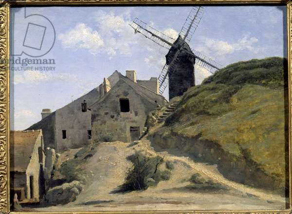 The mill of the galette in Montmartre. Painting by Camille Corot (1796-1875), 1845. Oil on glue paper on canvas 0.26 x 0.34m. Geneva, Museum of Art and History