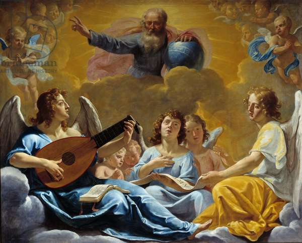 Concerts of angels Representation of the Almighty God with the Globe. Painting by Philippe de Champaigne (1602-1674) 17th century Sun. 1,75x2,2 m Rouen, musee des Beaux Arts