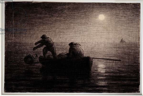 Lobster fishermen throwing their clays, night effect Black pencil drawing by Jean Francois Millet (1814-1875), circa 1856-1858. Dim. 0,32 x 0,49 m Paris. Orsay Museum