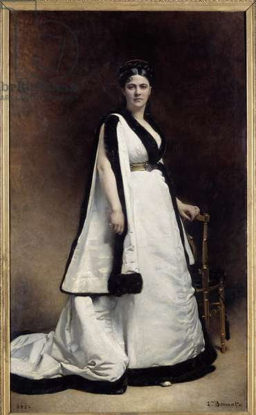 Portrait en pied de Madame Pasca (1835 - 1914) dramatist. Painting by Leon Joseph Bonnat (1833 - 1922), 1874. Oil on canvas. Dim: 2,22 x 1,32m. Paris, Musee d'Orsay