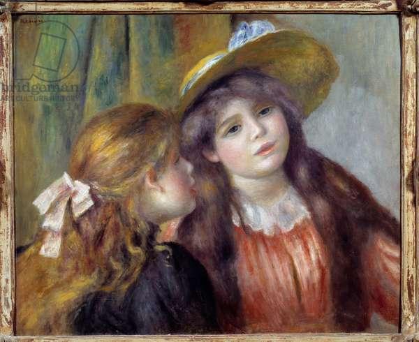 Portrait of two girls. Painting by Pierre Auguste Renoir (1841-1919), 1890. Oil on canvas. Dim: 0.46 X 0.55m. Paris, Musee De l'Orangerie - Portrait of two girls. Painting by Pierre Auguste Renoir (1841-1919), 1890. Oil on canvas. 0.46 x 0.55 m. Orangerie Museum, Paris