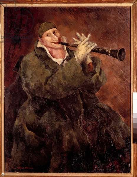 Grock playing the trumpet The clown Gock (1880-1959) playing the clarinet. Painting by Luc Albert Moreau (1882-1948) 20th century. Paris. Municipal Museum of Modern Art