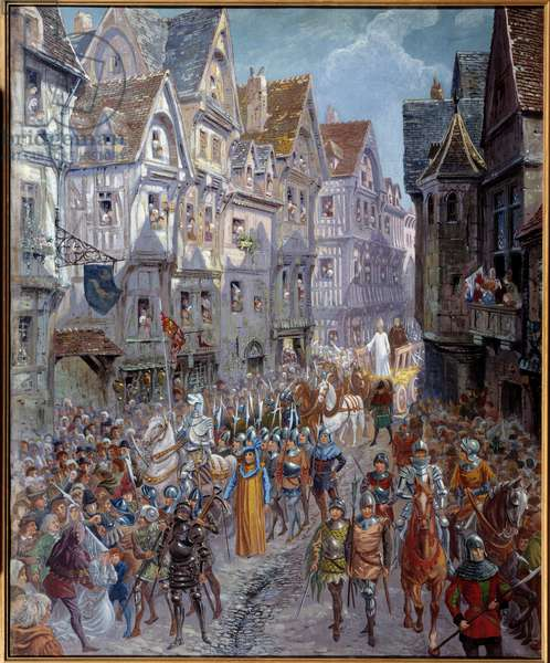 """Hundred Years' War: """""""" Jeanne d'Arc (1412-1431) is led to torture"""""""" View of the cortege in the streets of the city of Rouen Painting by Emile Deshays (1875-1946) 1901. Sun. 0,73x0,6 m Rouen, Musee des Beaux Arts Attention! Use of this work may be subject to a third party authorization request or additional fees"""
