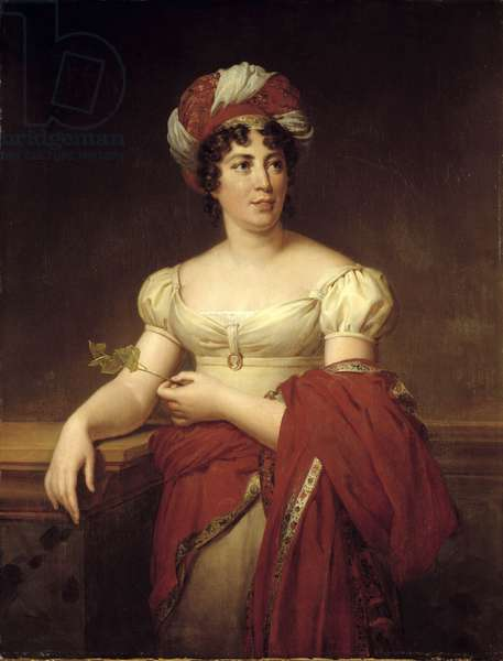 Portrait of Germaine Necker, Baroness of Stael Holstein called Madame de Stael (1766-1817), Swiss novelist and essayist. Painting by Marie Eleonore Godefroid (1778-1849), 1813. Oil on canvas, 1.16 x 0.83m.