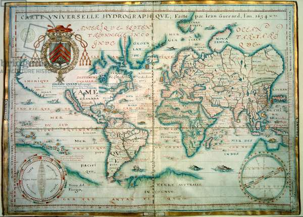 Universal hydrographic map. Manuscript by Jean Guerard, French geographer. 1734. paris, B.N.