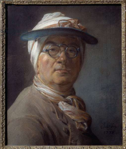 Self-portrait called portrait a green lampshade Pastel painting by Jean Baptiste Simeon Chardin (1699-1779) 1775 Sun. 0,46x0,38 m  - Salf portrait (with the green shade) - Painting by Jean Baptiste Simeon Chardin (1699-1779), pastel on paper (46x38 cm), 1775 -