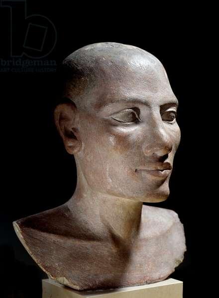 "Egyptian antiquite: Salt head. Limestone sculpture, Old Empire (around 2700-2200 BC). Paris, musee du Louvre - Egyptian Antiquity: Head of a young male said """" Salt"""" head, painted limestone, Old Kingdom (about 2700-2200 BC), Louvre Museum, Paris"