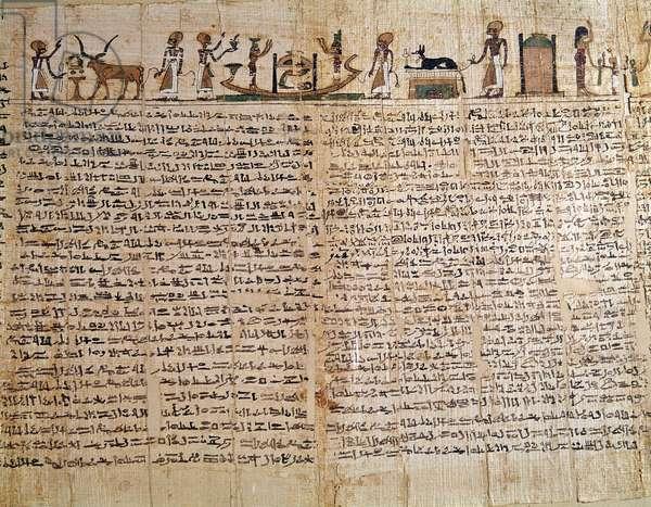 Egyptian Antiquity: Papyrus of a Book of the Dead. Low Epoque. Paris, Musee du Louvre - Egyptian Antiquity: papyrus of the Book of the Dead. Late Period, Louvre Museum, Paris