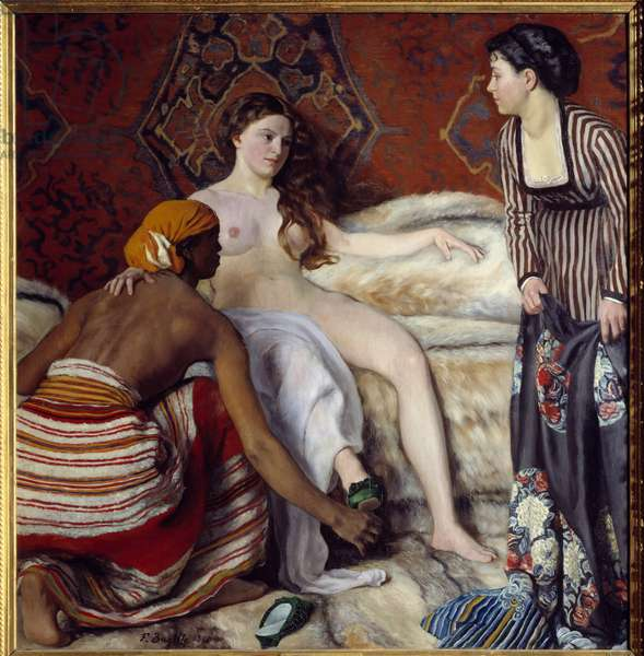 "Orientalism: """" The toilet"""" A young white woman assisted by her two maidens has her toilet. Painting by Frederic Bazille (1841-1870) 1869 Sun. 1,32x1,27 m Montpellier, Musee Fabre"