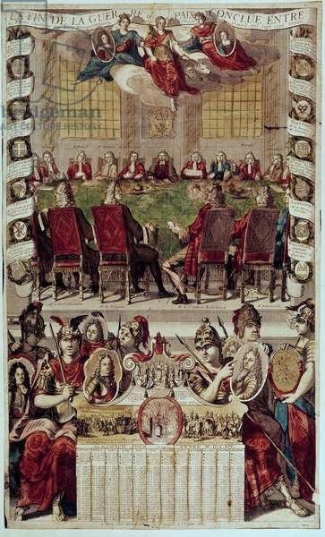 Almanach: representation of the Treaty of Utrecht ending the War of the Spanish Succession signed in France (Cardinal of Polignac) and England on 11 April 1713. 1714. Paris, B.N.