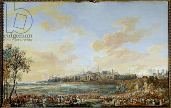 """War of the Austrian Succession (1741-1748): """""""" Entrement of King Louis XV to Mons 30/05/1747"""""""" Gouache by Louis Nicolas Van Blarenberghe (1716-1794) 1783 Sun. 0,59x0,94 m  - War of the Austrian Succession (1741-1748): Entry of King Louis XV in Mons, 30 May 1747."""" Gouache by Louis Nicolas Van Blarenberghe (1716-1794), 1783. 0.59 x 0.94 m. Versailles, Castles of Versailles and Trianon"""