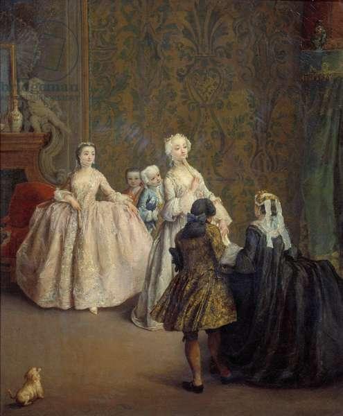 The presentation Painting by Pietro Longhi (1702-1785) 18th century Sun. 0,64x0,5 m Paris, Musee du Louvre